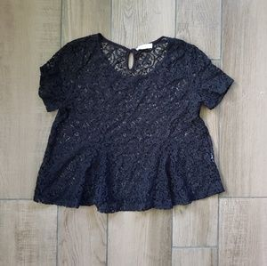Abercrombie fitch black lace short sleeve top L